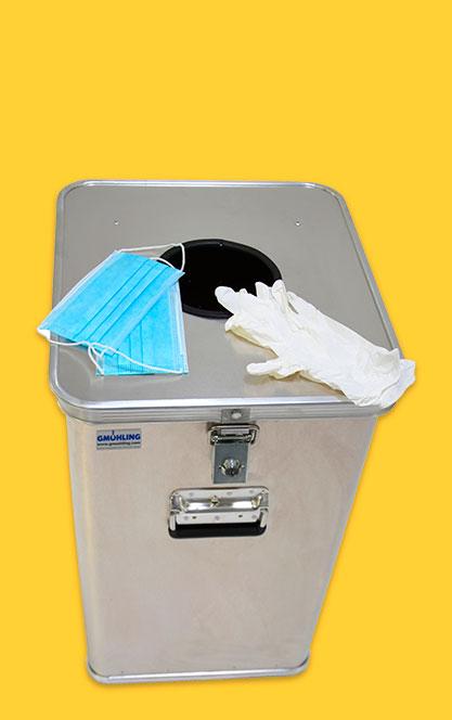 Papelera metálica para guantes, mascarillas y EPIs